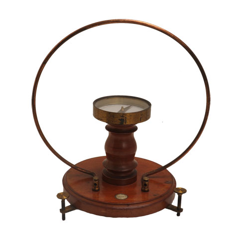tangent galvanometer A tangent galvanometer is an early measuring instrument used for the measurement of electric current it works by using a compass needle to compare a magnetic field.