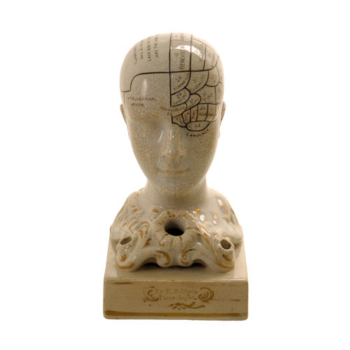 Phrenology Inkwell Head C 1860 Van