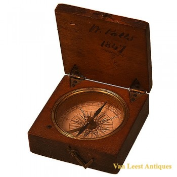Compass in wooden box - van Leest Antiques (2)